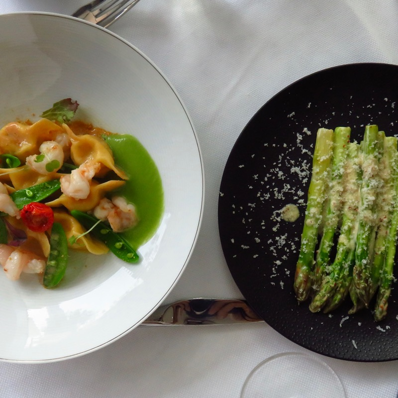 Address Boulevard hotel Dubai DoinDubai Shrimp ravioli and asparagus