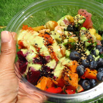 Image of Asian food in Dubai Poke Bowl Asian salad from Pineapple Express
