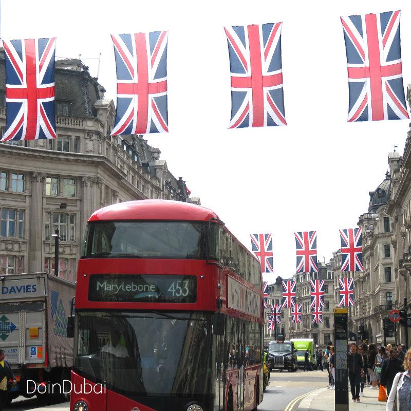 London's Best cafes Regent street flags