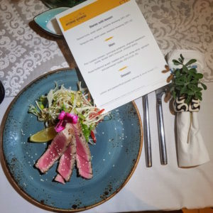 Hitchens Kitchens DoinDubai Seared Tuna with menu