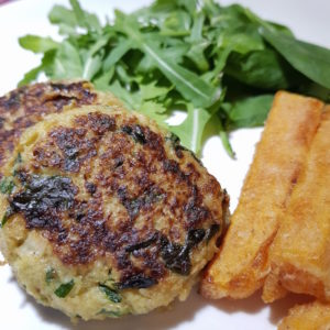 Image ofCauliflower Burgers DoinDubai Vegan Serve with sweet potatoes and rocket