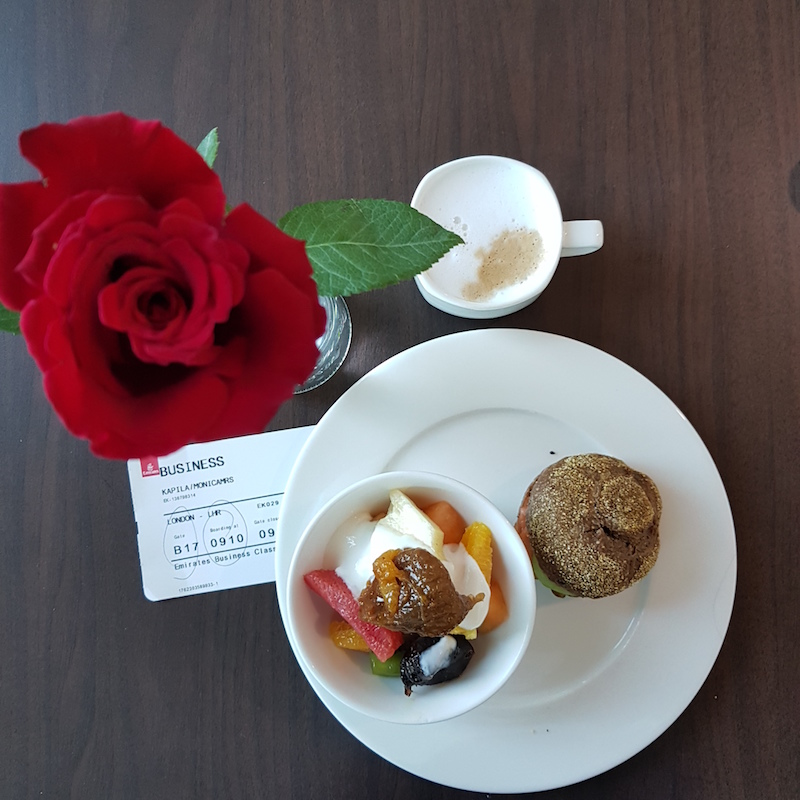 food in Emirates Business class lounge Dubai